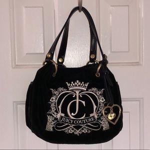 Juicy Couture Logo Black Hobo Velvet Bag GUC
